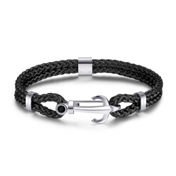 Black nylon cord bracelet with 316L stainless steel anchor.