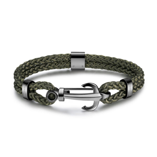 Green army nylon cord bracelet, gunmetal pvd with 316L stainless steel anchor.