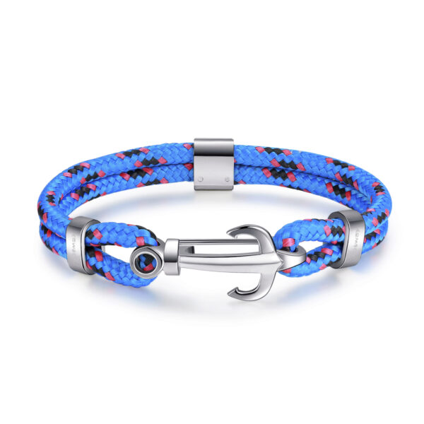 Blue nautical cord bracelet with 316L stainless steel anchor.