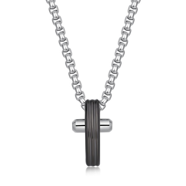 316L steel necklace with polished gun PVD