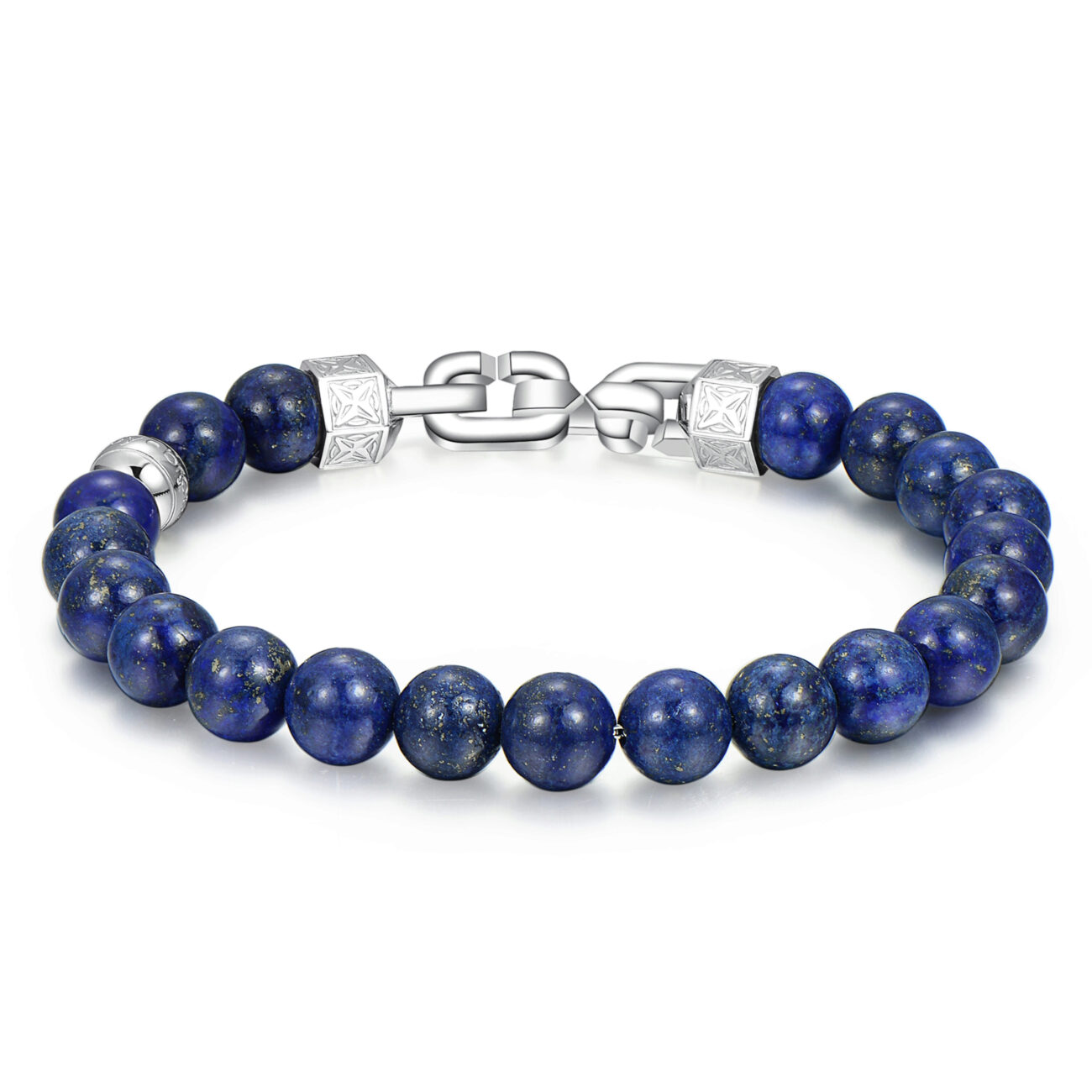 316 stainlees steel bracelet with lapislazzuli of 8mm.