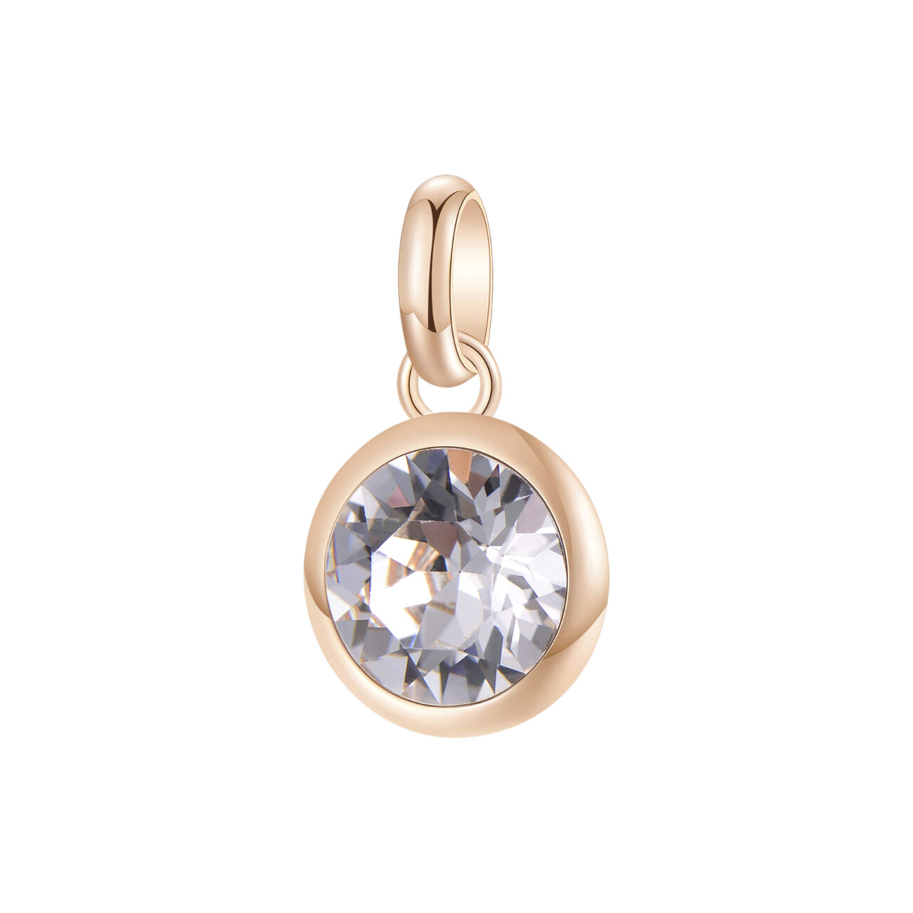316L stainless steel beads, rose gold pvd and white Swarovski©crystal
