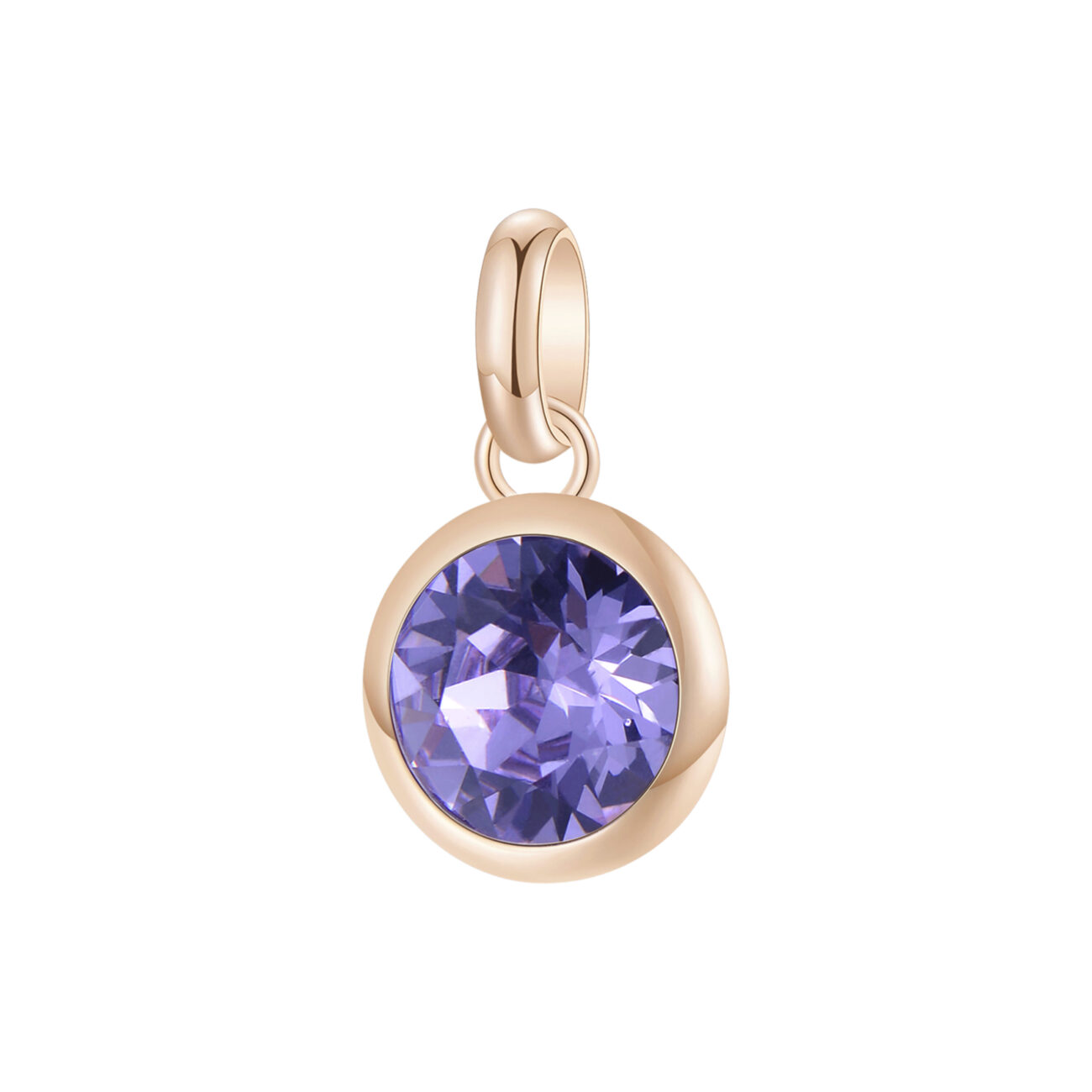 316L stainless steel beads, rose gold pvd and provence lavander Swarovski©crystal