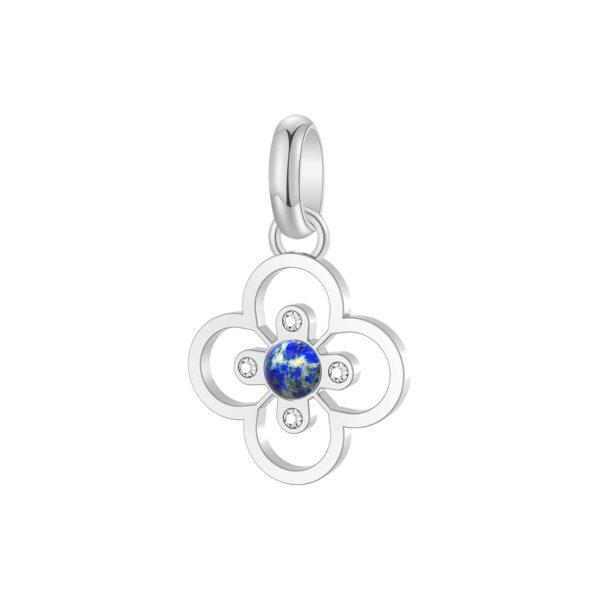 316L stainless steel beads, white Swarovski© crystals and lapislazuli