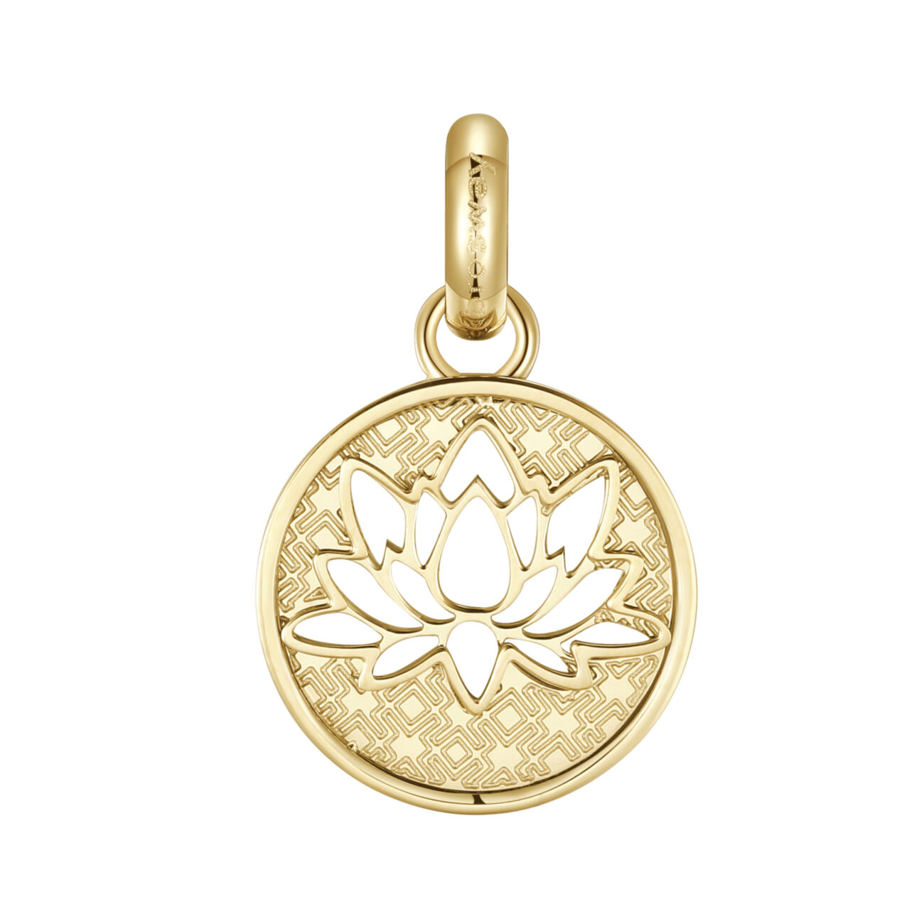 316L stainless steel and gold pvd beads with lotus flower engraving.
