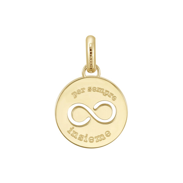 ENGRAVED:per sempre insieme (front) – forever together (back)316L stainless steel pendant beads and gold pvd with infinity.