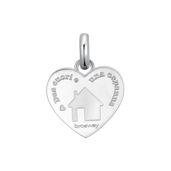 ENGRAVED:Due cuori e una capanna (front) – Home is where the heart is... (back)316L stainless steel pendant beads with an house.