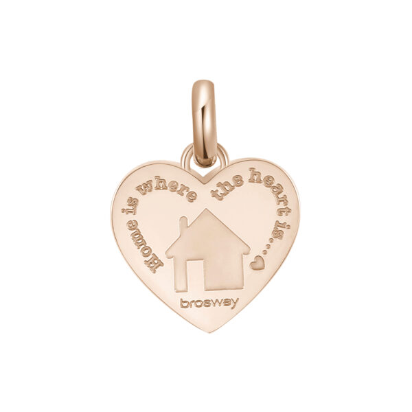 ENGRAVED:Due cuori e una capanna (front) – Home is where the heart is... (back)316L stainless steel pendant beads and rose gold pvd with an house.