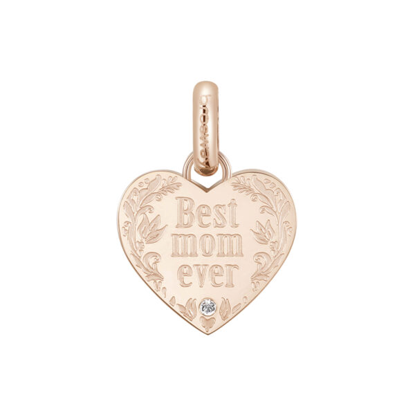 ENGRAVED:Best mom ever (front) – miglior mamma di sempre (back)316L stainless steel pendant beads and rose gold pvd with crystal Swarovski©crystal.