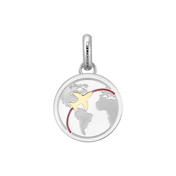 ENGRAVED:You are my greatest adventure (back) 316L stainless steel pendant beads with a shape of globe and gold pvd.