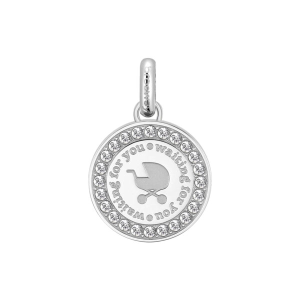 ENGRAVED:Waiting for you (front) – Aspettando te... (back) 316l stainless steel pendant beads with crystals Swarovski©crystal.