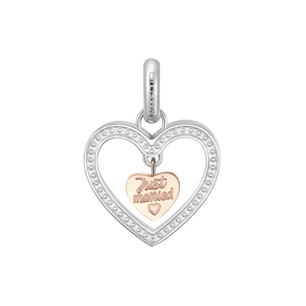 ENGRAVED:Just married (fronte) – Oggi sposi (retro) 316L stainless steel pendant beads with Swarovski©crystals and rose gold pvd.