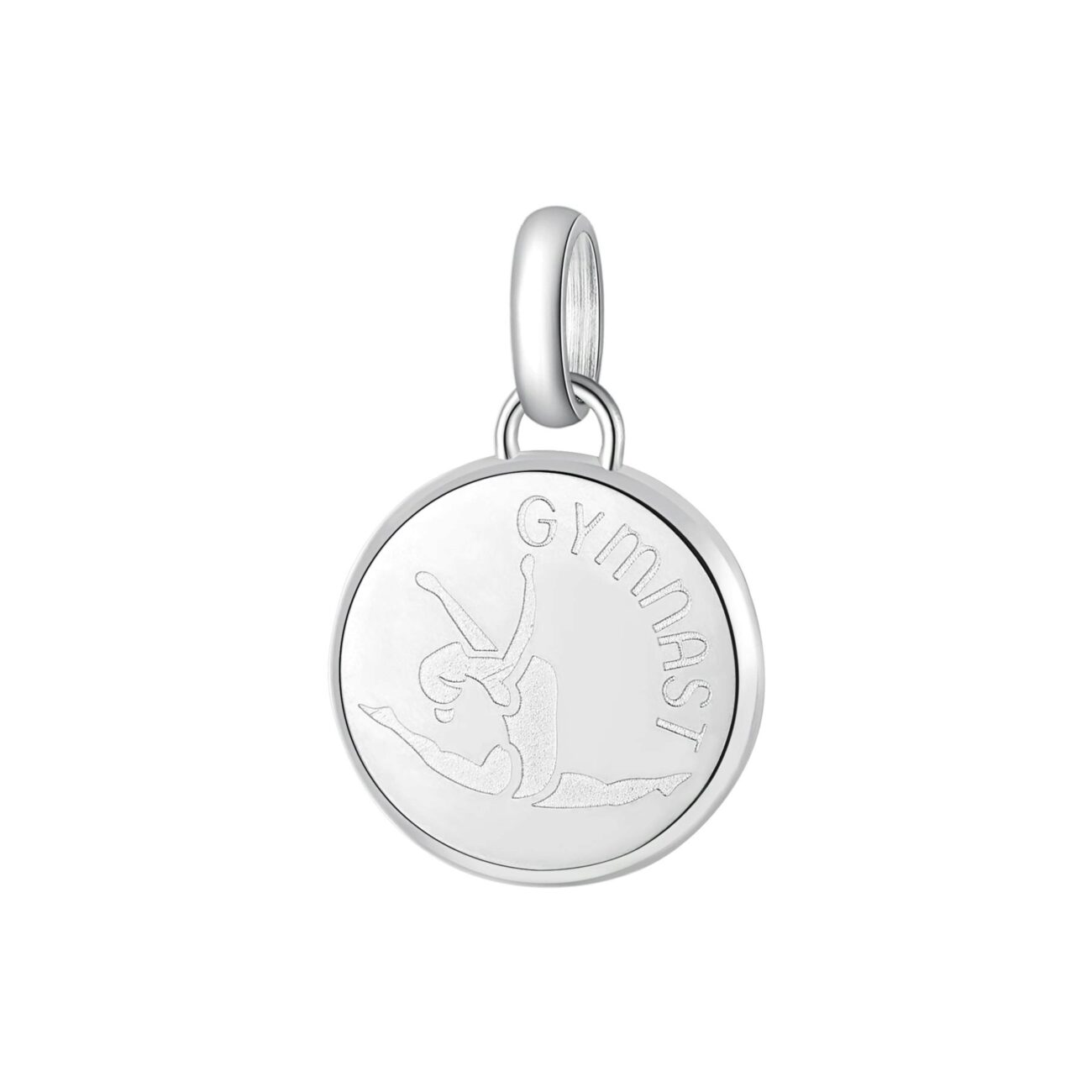 ENGRAVING: Gymnast (front)316L stainless steel beads with gymnast and engraving.