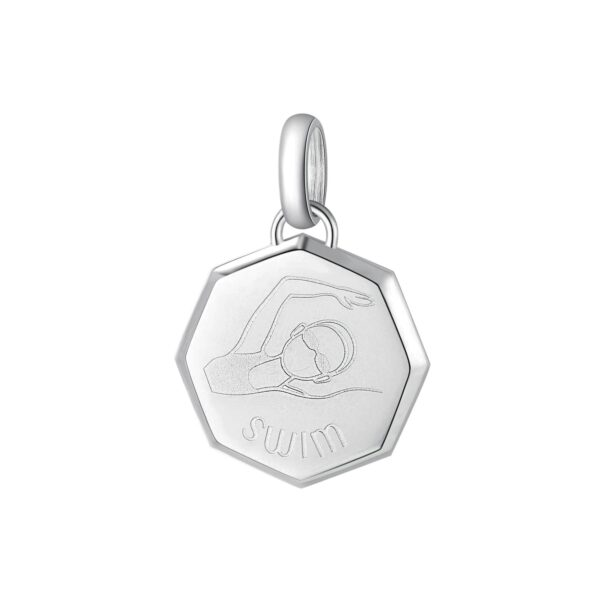 ENGRAVING: Swim (front)316L stainless steel beads with athlete and engraving.
