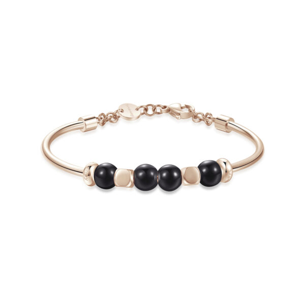316L stainless steel bracelet, rose gold pvd and black onyx