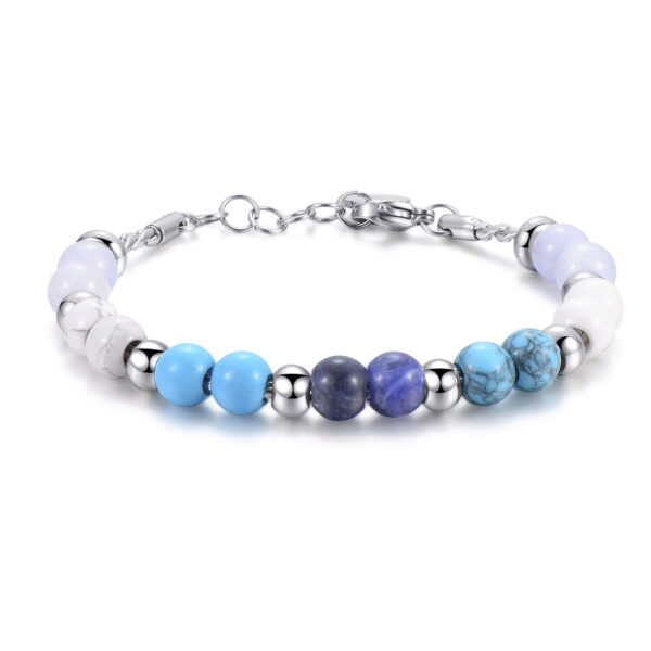 316L stainless steel bracelet, blu lace agate, white howlite, reconstructed turquoise and sodalite