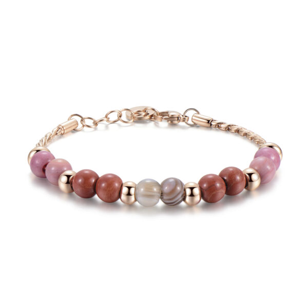 316L stainless steel bracelet, rose gold pvd, botswana agate, red jasper and rhodonite