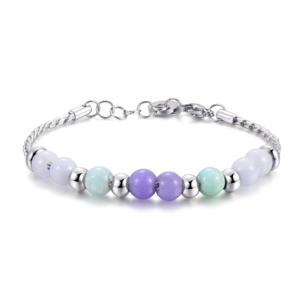 316L stainless steel, violet jade, blu lace agate and amazzonite