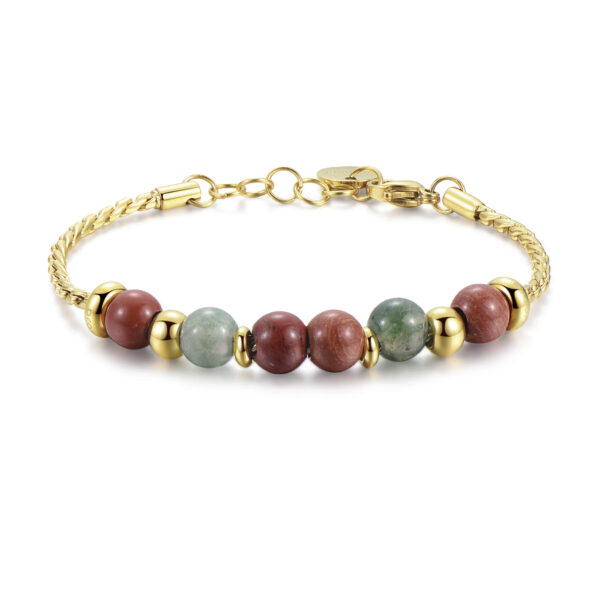 316L stainless steel, gold pvd, indian agate and red jasper