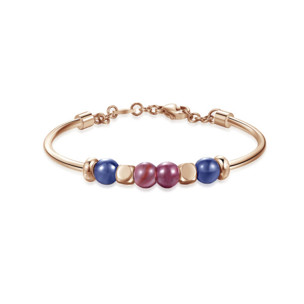 316L stainless steel, rose gold pvd, sodalite and rhodonite
