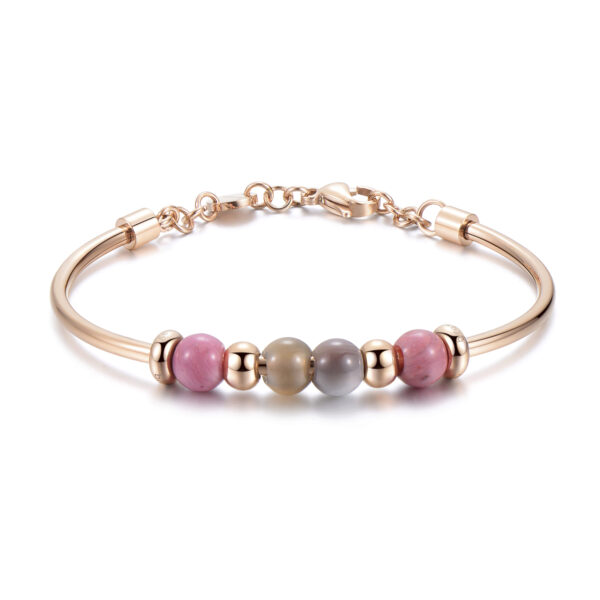 316L stainless steel bracelet, rose gold pvd, botswana agate and rhodonite