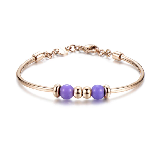 316L stainless steel bracelet, rose gold pvd and violet jade
