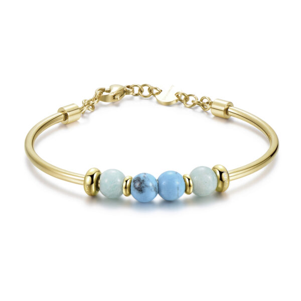 316L stainless steel bracelet, gold pvd, reconstructed turquoise and amazzonite