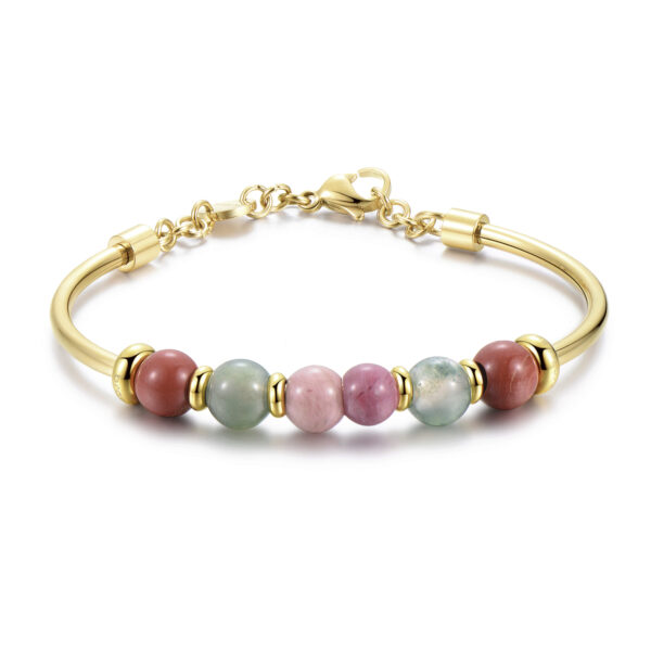 316L stainless steel bracelet, gold pvd, rhodonite, red jasper and indian agate