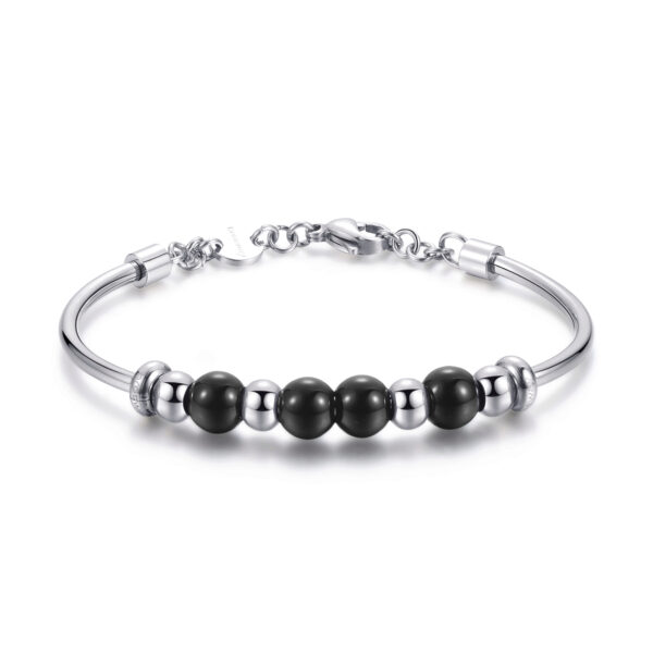 316L stainless steel bracelet and black onyx
