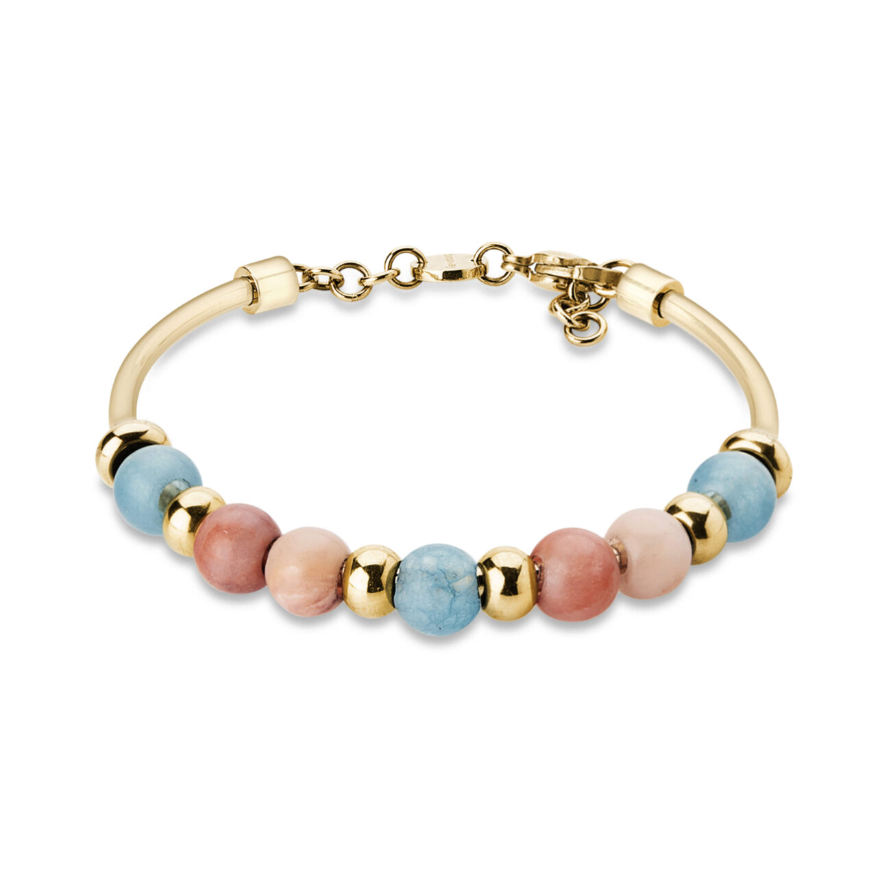 316L stainless steel and gold pvd bangle, with red aventurine and blue malay jade stones.
