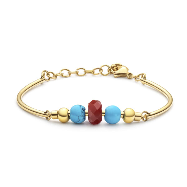 316L stainlees steel bracelet, gold pvd, reconstructed torquoise stones and red agate.
