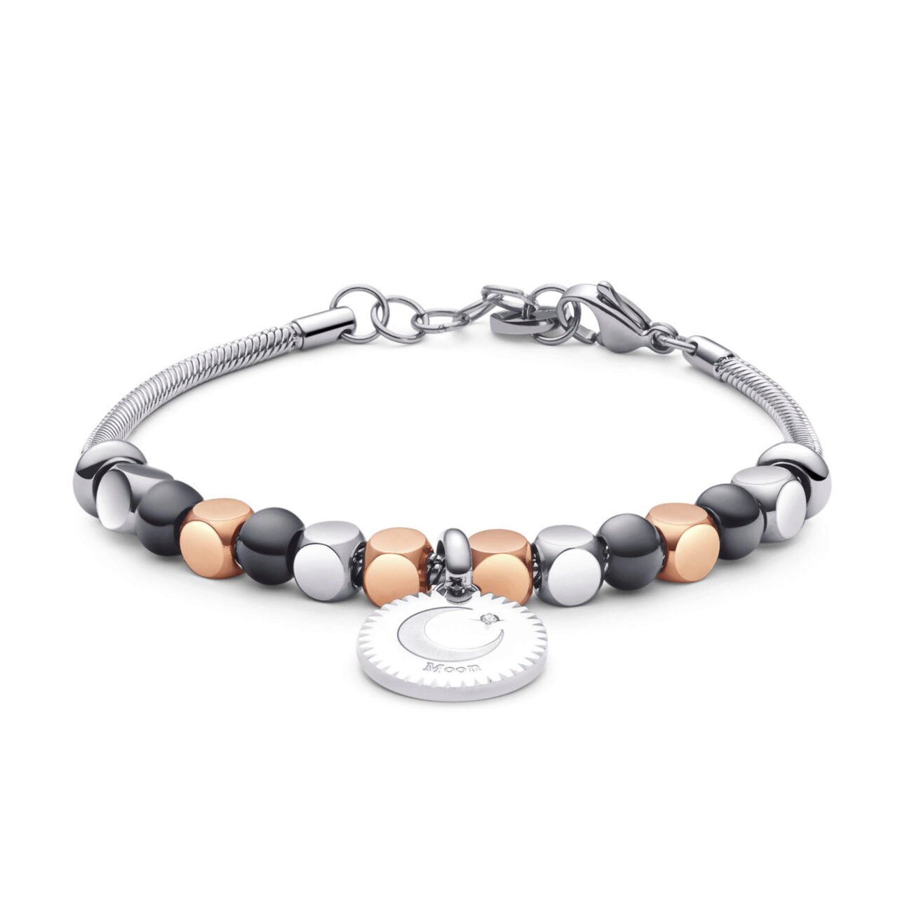 """316L stainlees steel bracelet, rose gold pvd, pvd and pendant with engraved """"Moon"""" and Swarovski® crystals."""