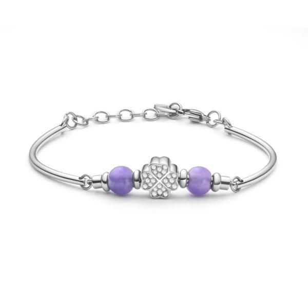 316L stainlees steel bracelet, violet jade stones and Swarovski® crystals.