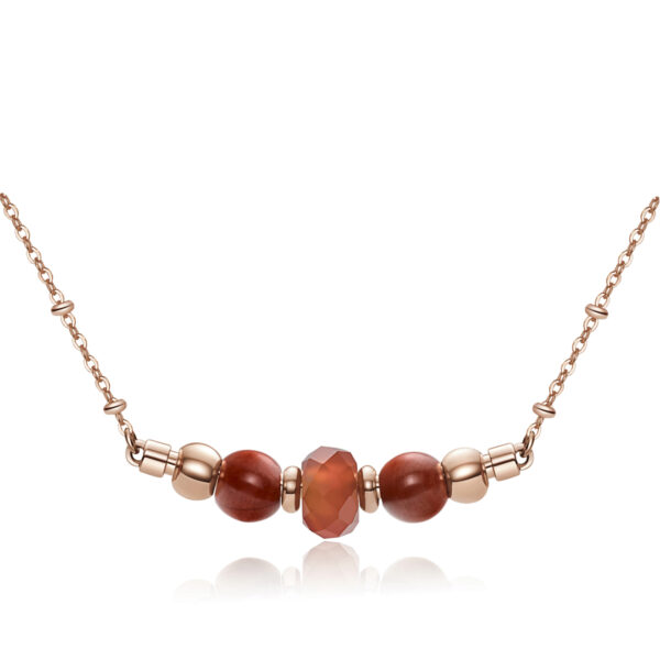 316L stainlees steel necklace, rose gold pvd with red jasper stones and red agate.