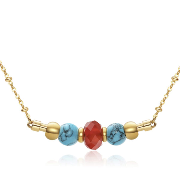 316L stainlees steel necklace, gold pvd with reconstructed torquoise stones and red agate.
