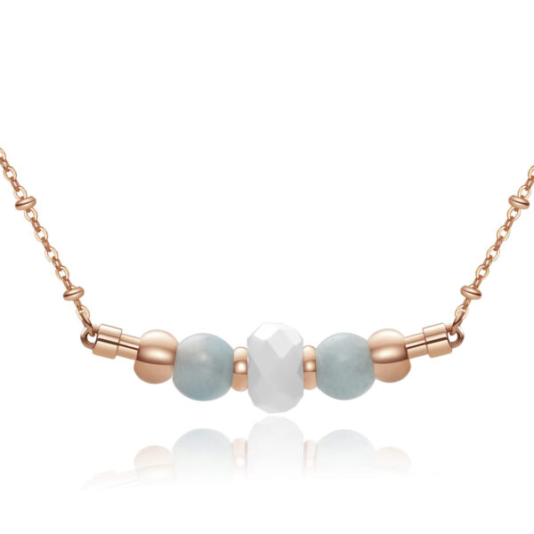 316L stainlees steel necklace, rose gold pvd with amazonite stones and white agate.