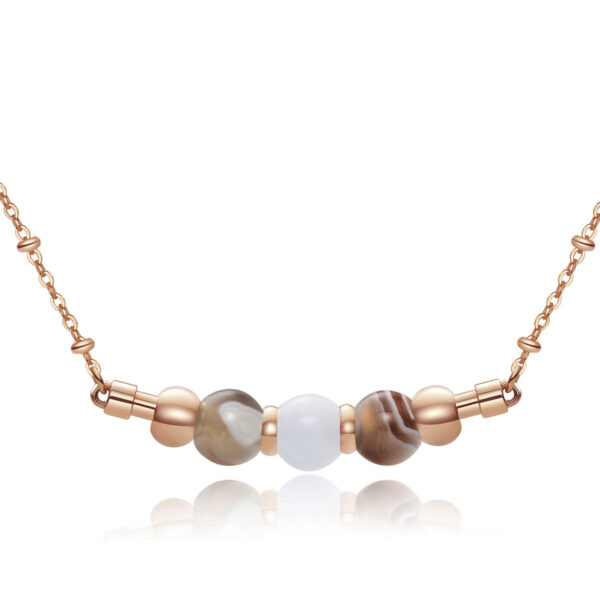 316L stainlees steel necklace, rose gold pvd with botswana agate and blue agate.