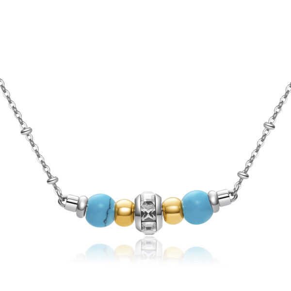 316L stainlees steel necklace, gold pvd with reconstructed torquoise stones and Swarovski® crystals.