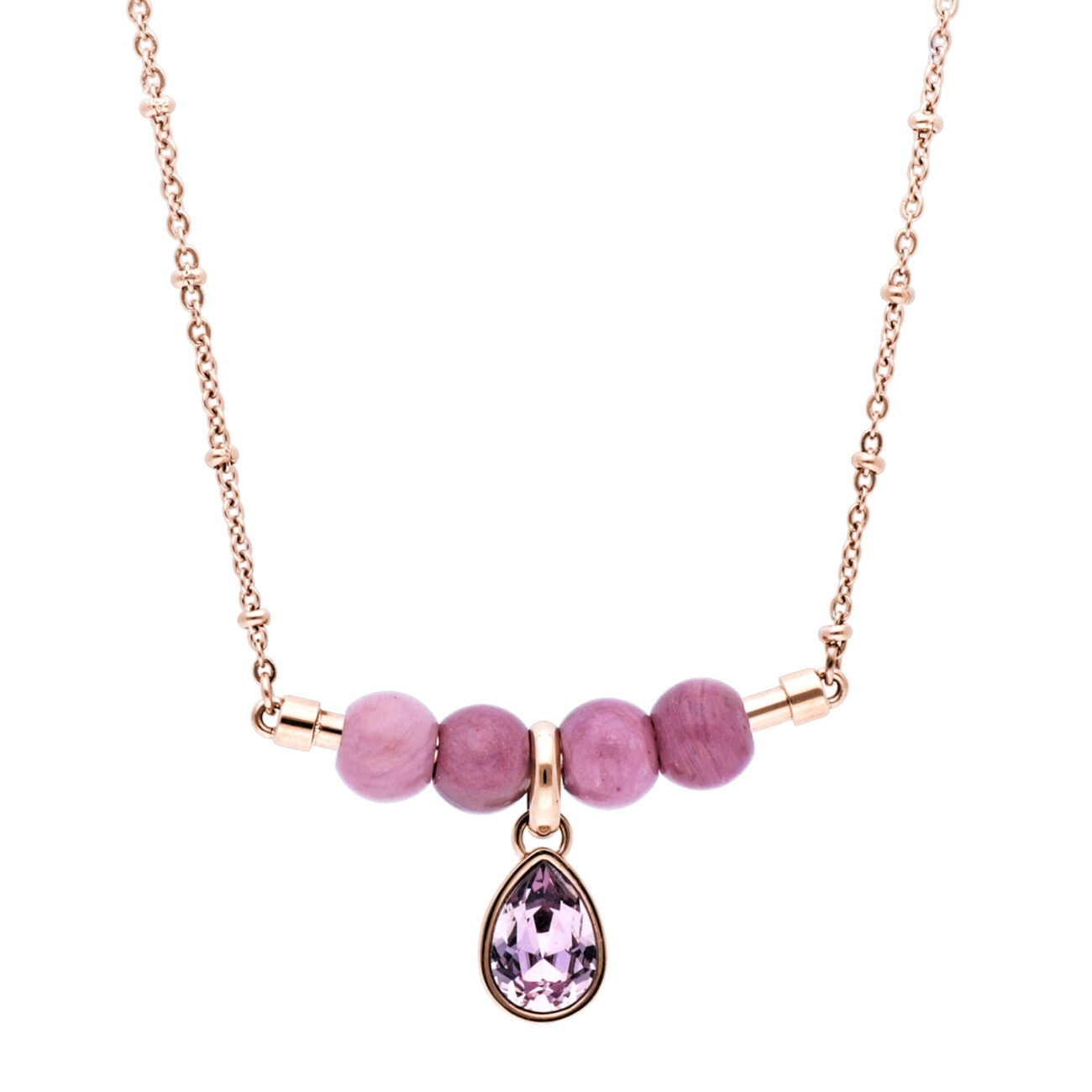 316L stainless steel necklace, rose gold pvd, rhodonite and Swarovski©crystal