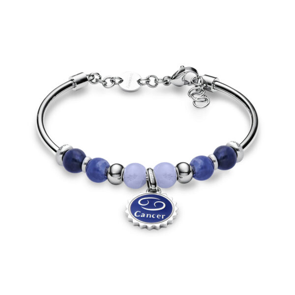 316L stainless steel bracelet with cancer pendant, blu lace agate, sodalite, blue enamel and Swarovski©crystals