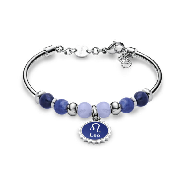 316L stainless steel bracelet with leo pendant, blu lace agate, sodalite, blue enamel and Swarovski©crystals