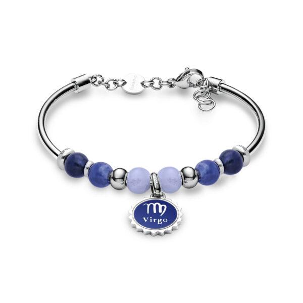 316L stainless steel bracelet with virgo pendant, blu lace agate, sodalite, blue enamel and Swarovski©crystals