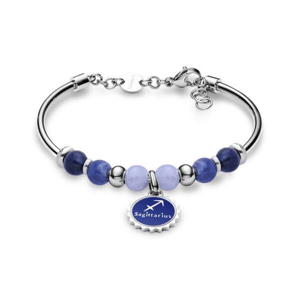 316L stainless steel bracelet with sagittarius pendant, blu lace agate, sodalite, blue enamel and Swarovski©crystals