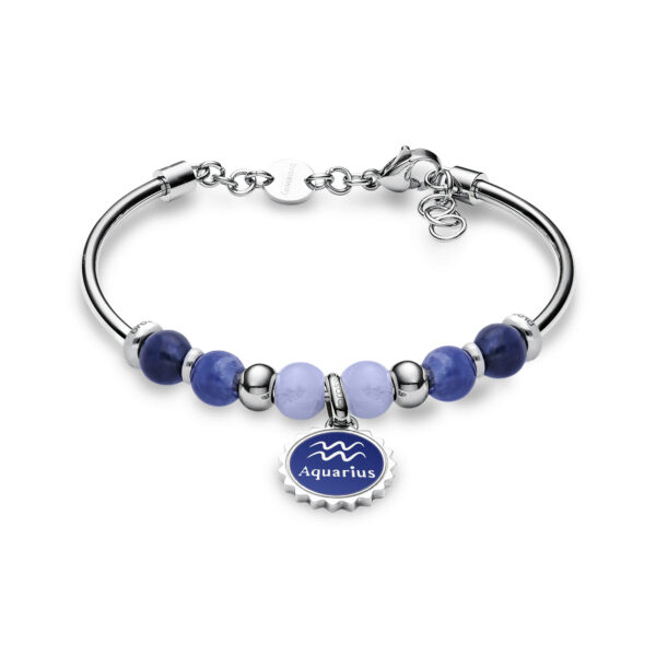 316L stainless steel bracelet with aquarius pendant, blu lace agate, sodalite, blue enamel and Swarovski©crystals