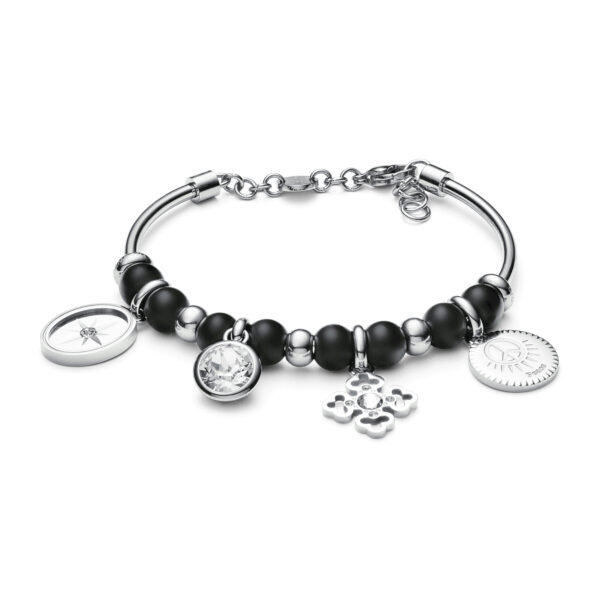 316L stainless steel bracelet with black onyx and white Swarovski®crystals.