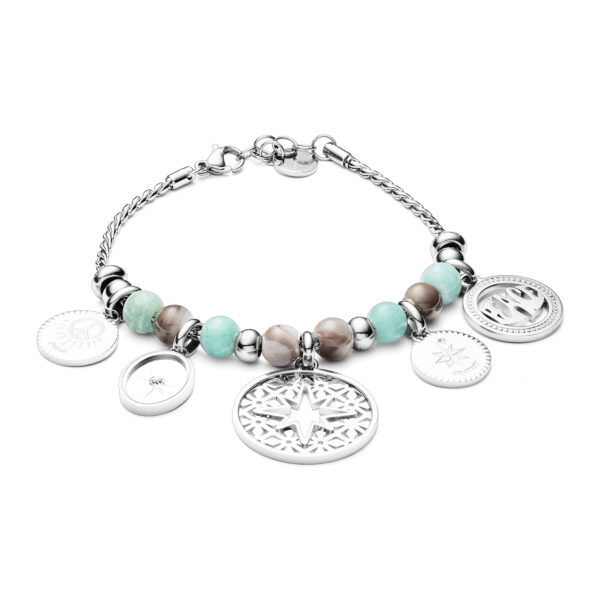 316L stainless steel bracelet with amazzonite and botswana agate and white Swarovski®crystals.