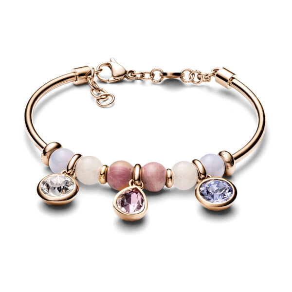 316L stainless steel bracelet, rose gold pvd with white jade, blu lace agate and rhodonite and Swarovski®crystals.