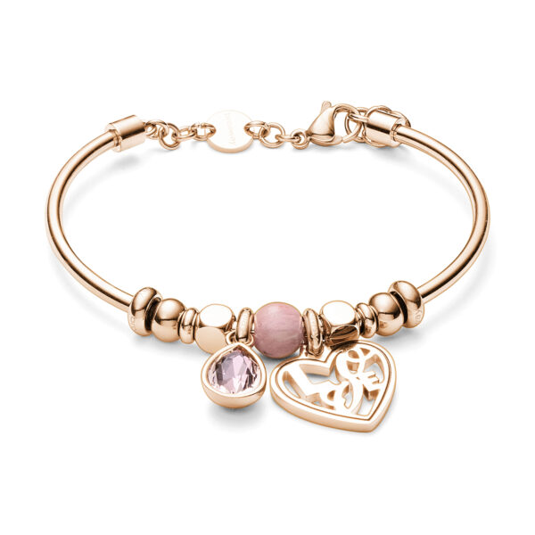 316L stainless steel bracelet, rose gold pvd with rhodonite and Swarovski®crystal.