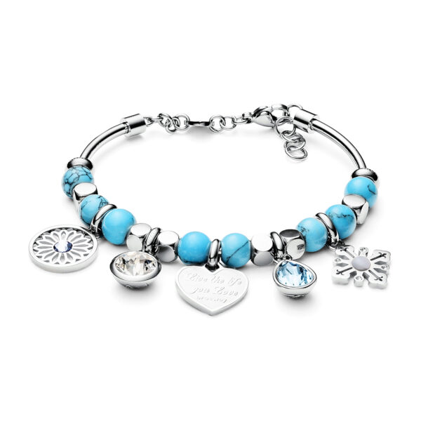 316L stainless steel bracelet with reconstructed turquoise and Swarovski®crystals.