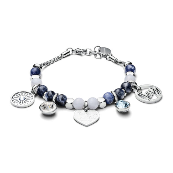 316L stainless steel bracelet with white jade and sodalite and Swarovski®crystals.